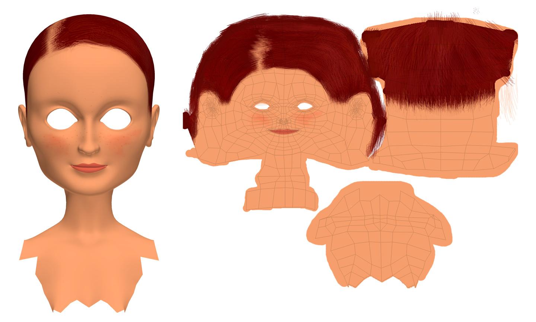 3D Sarah textured head